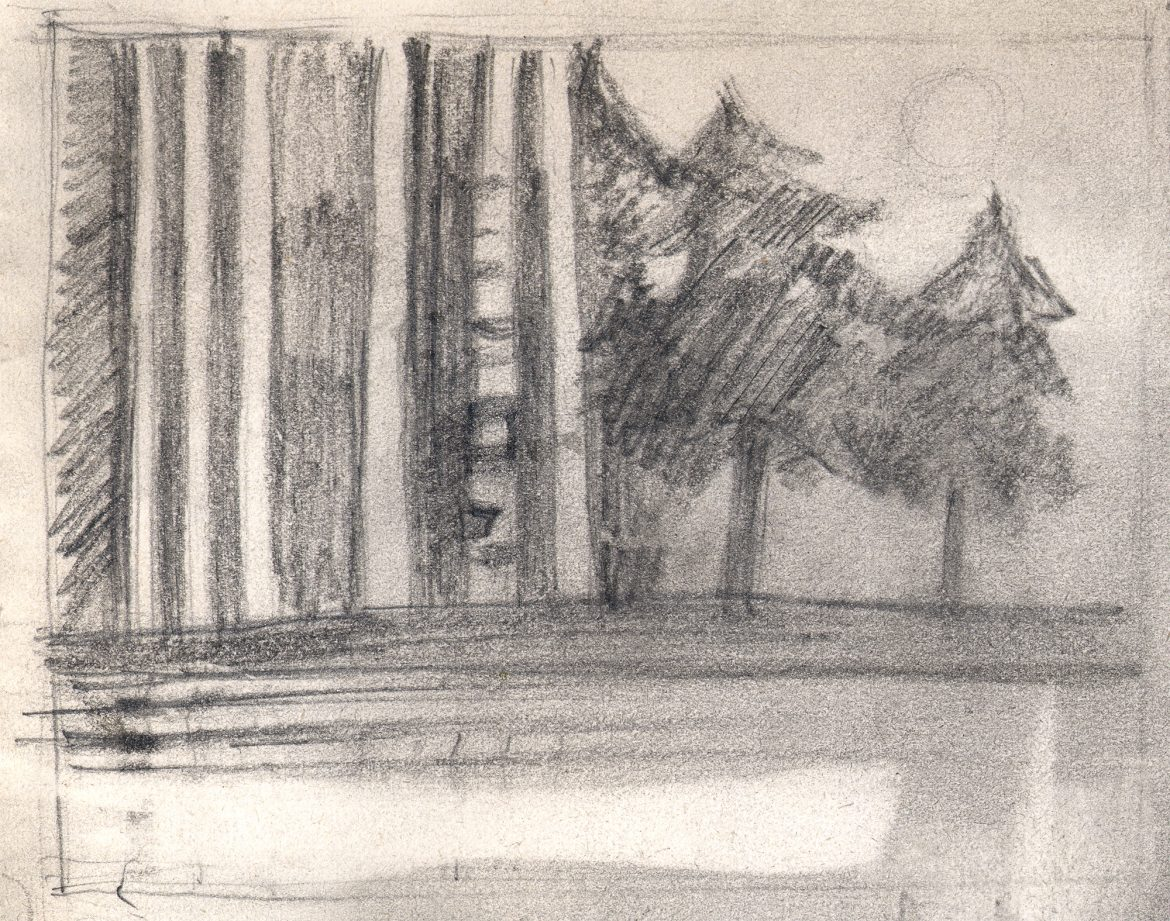 Pencil sketch relating to trees by water card design 1