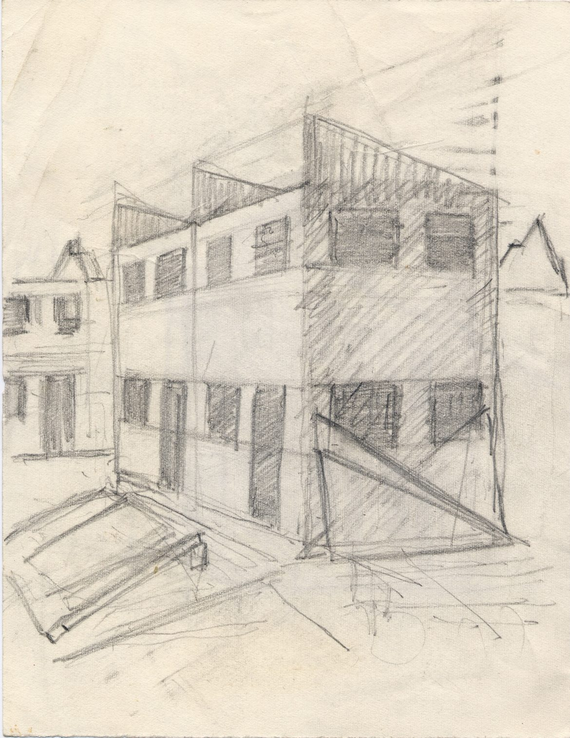 Pencil sketch house construction bulwell 2