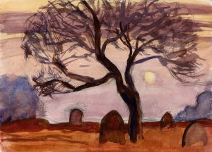 tombstone-and-tree-watercolour-study