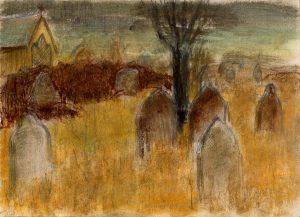 tombstones-and-tree-pastel-study